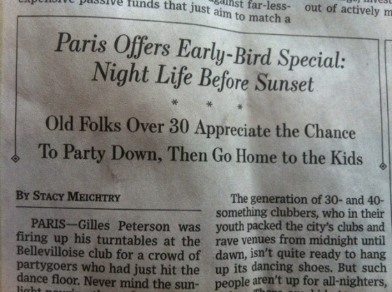 WSJ: Paris Offers Early Bird Special: Night Life Before Sunset